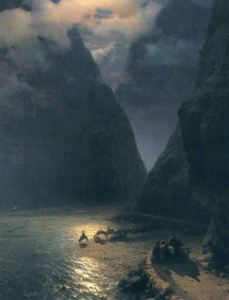 Ivan-Aivazovsky-Handmade-Oil-Painting-Repro-Daryal-Pass-Canvas-Wall-Art-Set-Room-Painting-Designs-Decorative